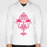 damask Hoodies featuring Flamingo Damask by Jacqueline Maldonado