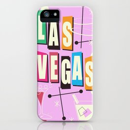 Vintage Las Vegas Vacation print pink version iPhone Case