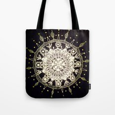 White Gold Mandala on Black Background Tote Bag