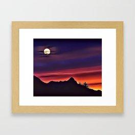 Moon Mountain Airbrush Artwork Framed Art Print