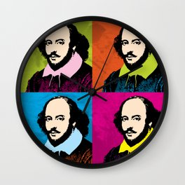 WILLIAM SHAKESPEARE (4-UP POP ART COLLAGE) Wall Clock