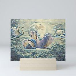 Four Swans Moon Rise Mini Art Print