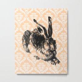Elegant Damask Bunny Metal Print