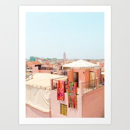 Marrakesh, Morocco's Pink Medina Buildings from Above Art Print