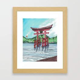 Balloon over Torii Framed Art Print