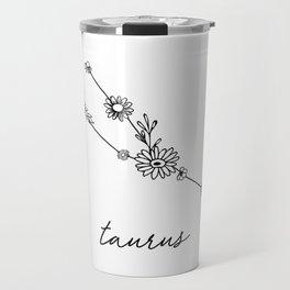 Taurus Floral Zodiac Constellation Travel Mug