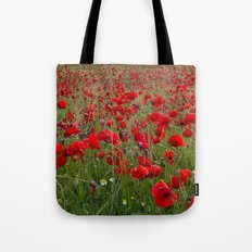 Field of poppies in the lake Tote Bag