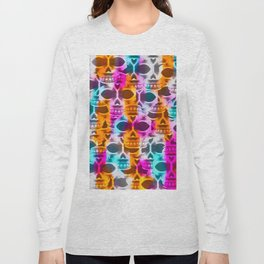 skull art portrait with colorful painting abstract in pink orange blue Long Sleeve T-shirt