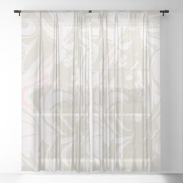 Beige marble pattern Sheer Curtain
