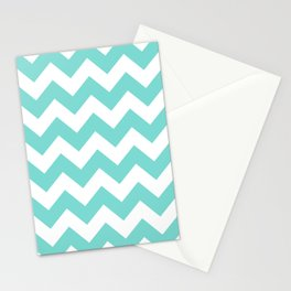 Chevrons White & Aqua Stationery Cards