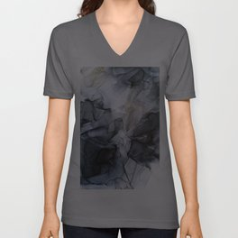 Calm but Dramatic Light Monochromatic Black & Grey Abstract Unisex V-Ausschnitt