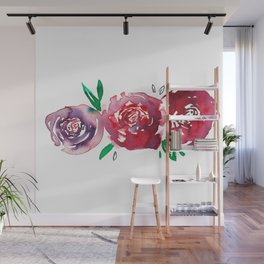Three Red Christchurch Roses Wall Mural