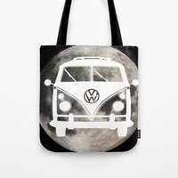 volkswagon Tote Bags featuring Moon Wagon by Isaak_Rodriguez