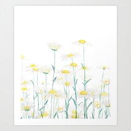 white daisy branch watercolor  vertical  Art Print