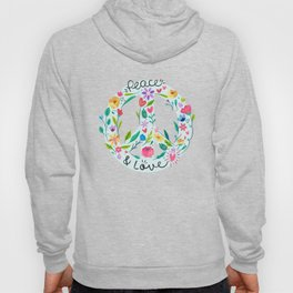 Peace And Love Flowers Sign Hoody