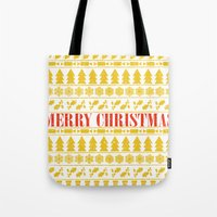 merry christmas Tote Bags featuring Christmas Merry! by Fimbis