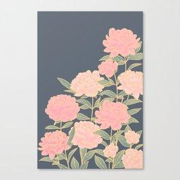 Pink peonies vintage pattern Canvas Print