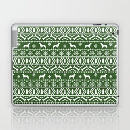 Husky fair isle green and white minimal christmas dog pattern gifts huskies Laptop & iPad Skin