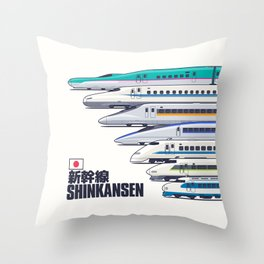 Shinkansen Bullet Train Evolution - White Throw Pillow