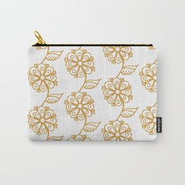 Golden floral on white 2/5 Carry-All Pouch