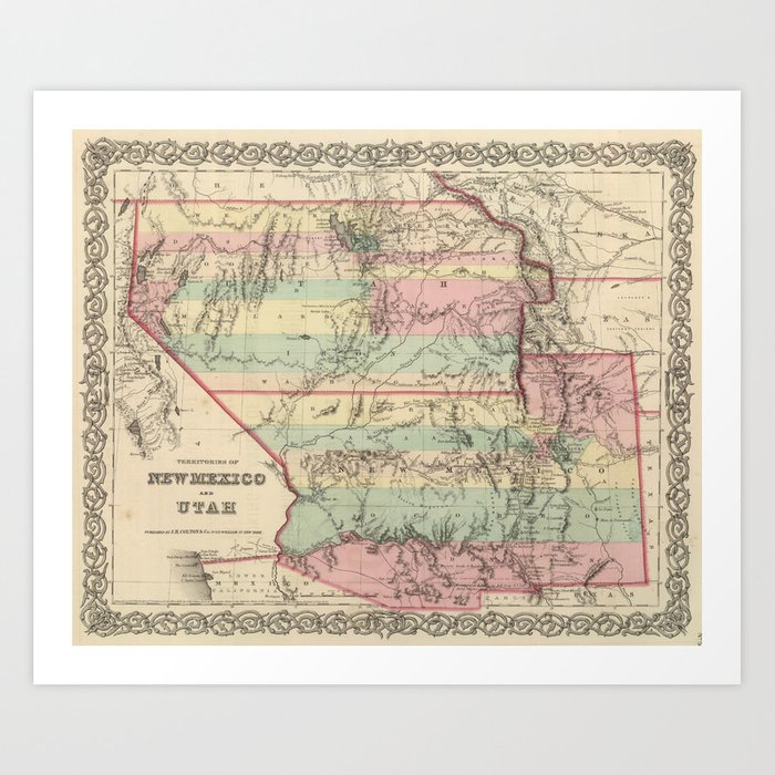 photo relating to Printable Map of Utah named Basic Map of Fresh new Mexico and Utah (1857) Artwork Print by way of bravuramedia