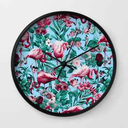 Spring Summer Floral Pattern Wall Clock