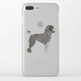 Grey Silver Poodle Abstract Fluid Acrylic Art Clear iPhone Case