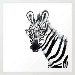 Zebra with glasses, black and white Art Print