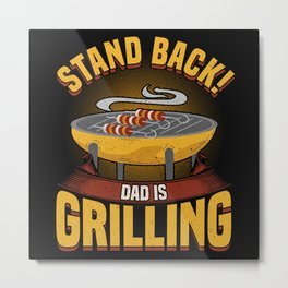 Grill Grilling Meat Steak Kitchen Chef Gift Metal Print