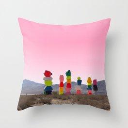 Seven Magic Mountains with Pink Sky - Las Vegas Throw Pillow