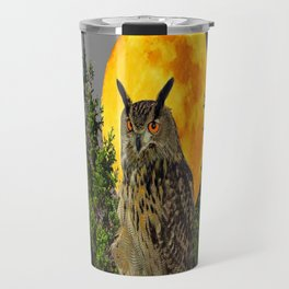 OWL WITH FULL MOON & PINE TREES GREY ART Travel Mug