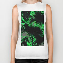 green palm leaves abstract background Biker Tank
