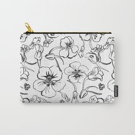 Bold seamless hand drawn floral pattern repeat motif with orange nasturtium flowers, Ink drawing. Carry-All Pouch