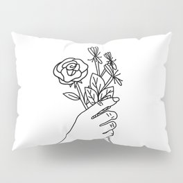 Rose & Honeysuckle Line Drawing (Birth Flower Series - June) Pillow Sham