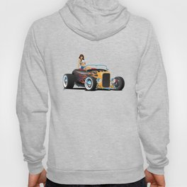 Custom Hot Rod Roadster Car with Flames and Sexy Woman Hoody