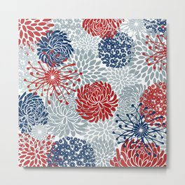 Floral Abstract Print, Red, Navy, Blue, Gray Metal Print