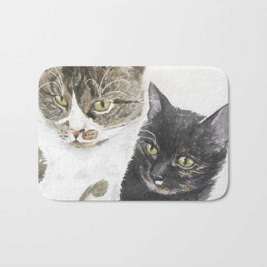 Two cats - tabby and tortie Bath Mat