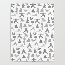 Grey Yoga Pattern Poster