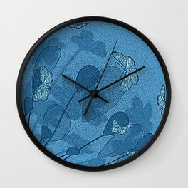 Blue Butterflies and Flowers Wall Clock