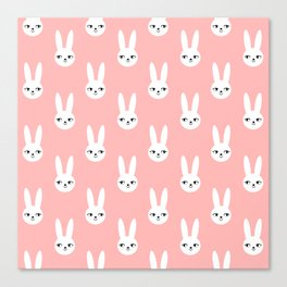 Bunny Rabbit pink and white spring cute character illustration nursery kids minimal floral crown Canvas Print