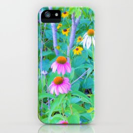 White and Purple Coneflowers and Yellow Rudbeckia Garden iPhone Case
