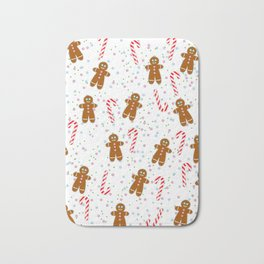 Gingerbread man wishes you Merry Xmas! - White Bath Mat