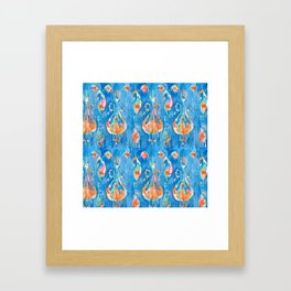 electric blue balinese ikat mini Framed Art Print