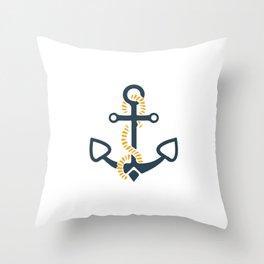 Anchor Ahoi Sailorboat marina Throw Pillow