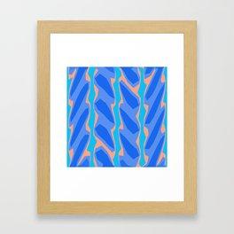 Blue Aqua Pink Crackle Minimal Framed Art Print