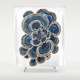 Blue Trametes Mushroom Shower Curtain