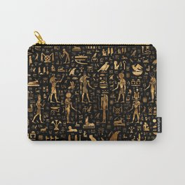 Ancient Egyptian Hieroglyphics Obsidian Copper Carry-All Pouch