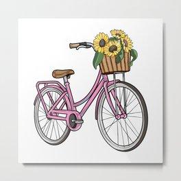 Womens bike with Basket & Flowers Metal Print