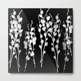 Pussywillow Silhouette — Black & White Metal Print