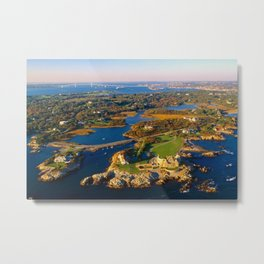 The Waves Mansion and Newport Bridge, Newport, Rhode Island Metal Print